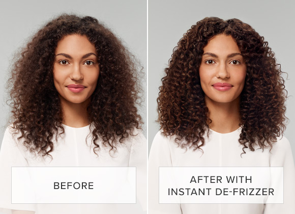 Before and After Instant DeFrizzer